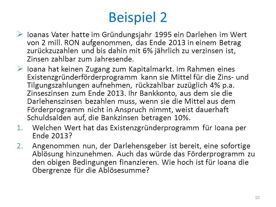 Beispiel 2 Ioanas Vater hatte im Gründungsjahr 1995 ein Darlehen im Wert von 2 mill. RON aufgenommen, das Ende 2013 in einem Betrag zurückzuzahlen und