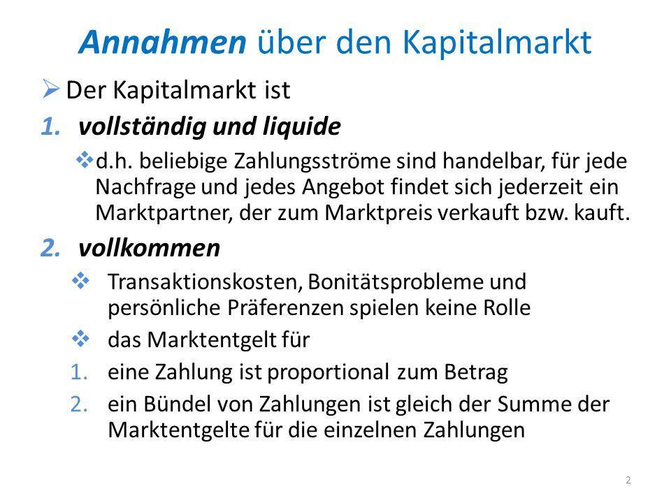 Annahmen über den Kapitalmarkt Der Kapitalmarkt ist 1.vollständig und liquide d.h.