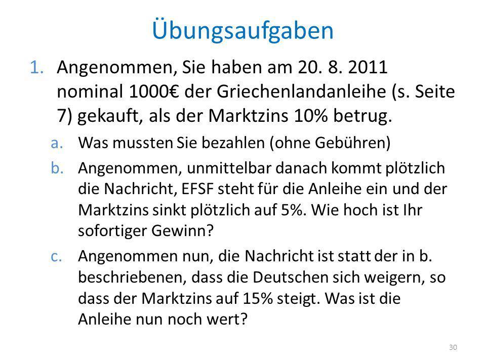 Übungsaufgaben 1.Angenommen, Sie haben am 20. 8. 2011 nominal 1000 der Griechenlandanleihe (s. Seite 7) gekauft, als der Marktzins 10% betrug. a.Was m