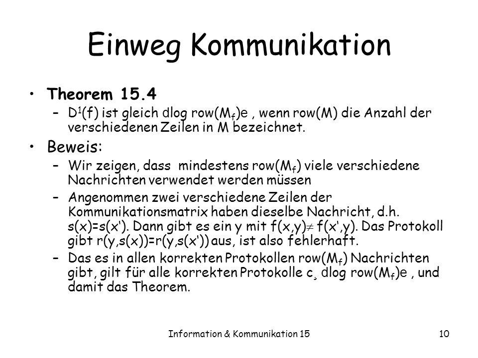 Information & Kommunikation 1510 Einweg Kommunikation Theorem 15.4 –D 1 (f) ist gleich d log row(M f ) e, wenn row(M) die Anzahl der verschiedenen Zei