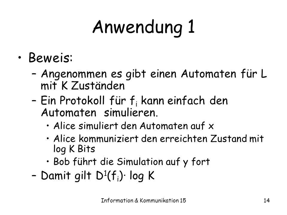 Information & Kommunikation 1514 Anwendung 1 Beweis: –Angenommen es gibt einen Automaten für L mit K Zuständen –Ein Protokoll für f i kann einfach den