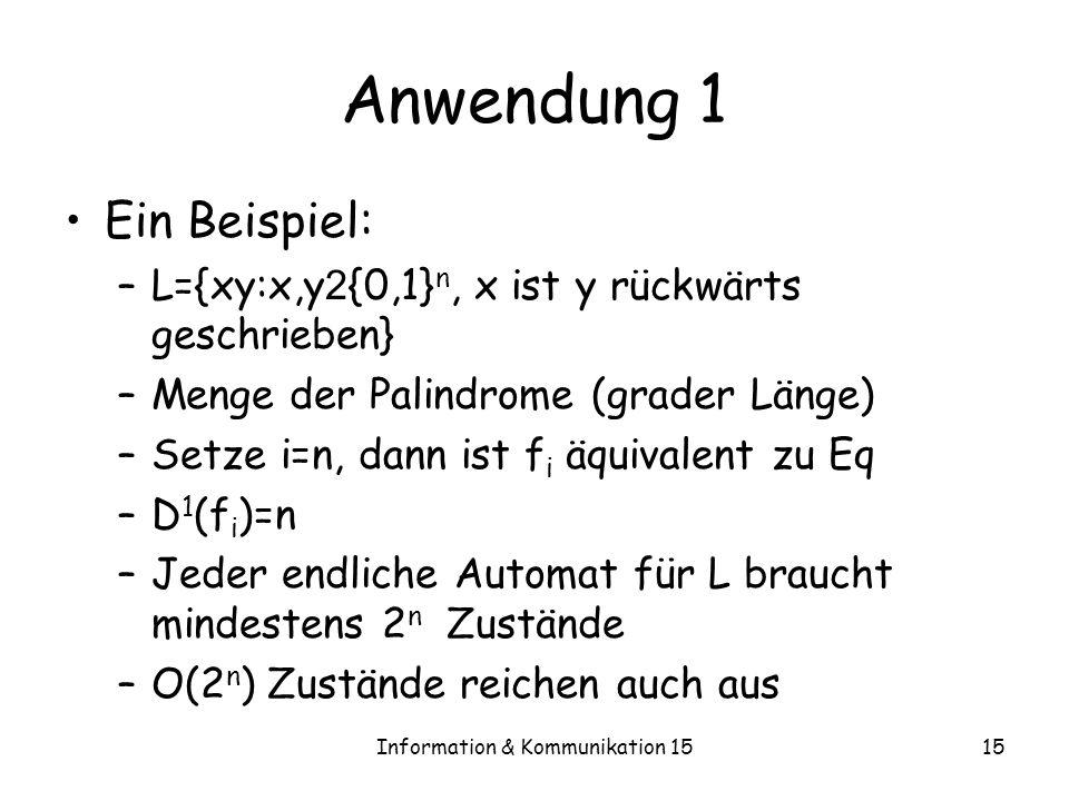 Information & Kommunikation 1515 Anwendung 1 Ein Beispiel: –L={xy:x,y 2 {0,1} n, x ist y rückwärts geschrieben} –Menge der Palindrome (grader Länge) –
