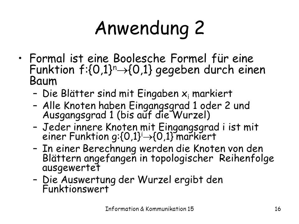 Information & Kommunikation 1516 Anwendung 2 Formal ist eine Boolesche Formel für eine Funktion f:{0,1} n {0,1} gegeben durch einen Baum –Die Blätter