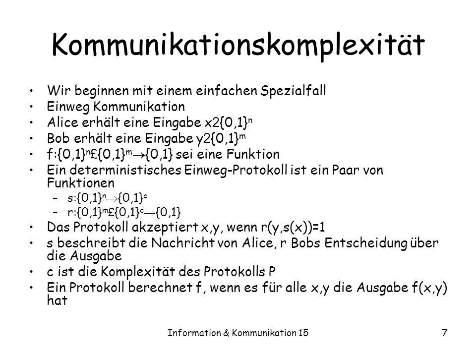 Information & Kommunikation 158 Kommunikationskomplexität Definition 15.2 –Es sei D 1 (f) das Minimum der Komplexitäten aller deterministischen Einweg-Protokolle, die f berechnen Definition 15.3 –Die Kommunikationsmatrix von f:{0,1} n £ {0,1} m {0,1} sei die 2 n £ 2 m Matrix M f mit M f (x,y)=f(x,y)