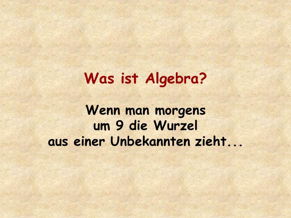 Was ist Algebra? Wenn man morgens um 9 die Wurzel aus einer Unbekannten zieht...