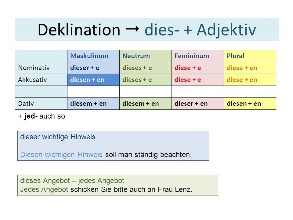 MaskulinumNeutrumFemininumPlural Nominativein + erein + eseine + e Ø + e Akkusativeinen + enein + eseine + e Ø + e Dativeinem + en einer + en Ø + en Deklination ein- + Adjektiv ein = 1 .