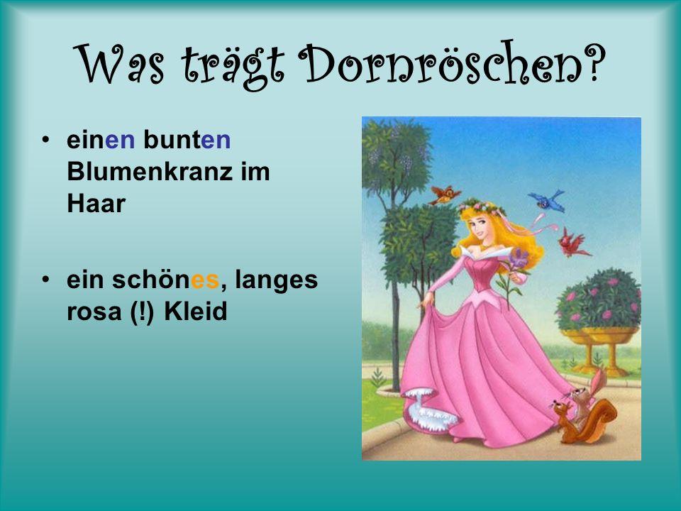 Was trägt Dornröschen? einen bunten Blumenkranz im Haar ein schönes, langes rosa (!) Kleid