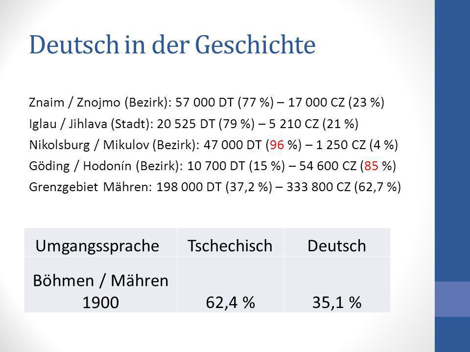 Deutsch in der Geschichte Umgangssprache TschechischDeutsch Böhmen / Mähren 190062,4 %35,1 % Znaim / Znojmo (Bezirk): 57 000 DT (77 %) – 17 000 CZ (23