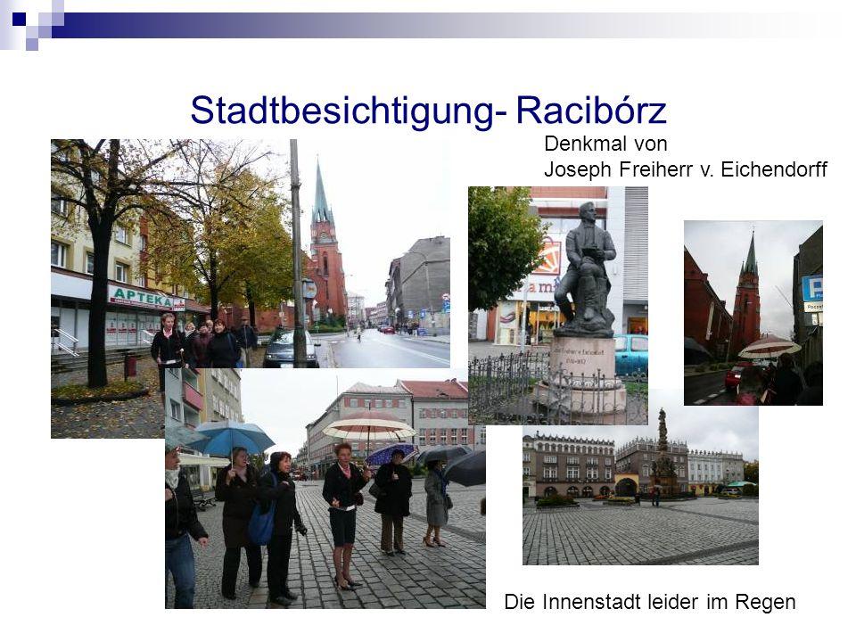 Stadtbesichtigung- Racibórz Denkmal von Joseph Freiherr v. Eichendorff Die Innenstadt leider im Regen