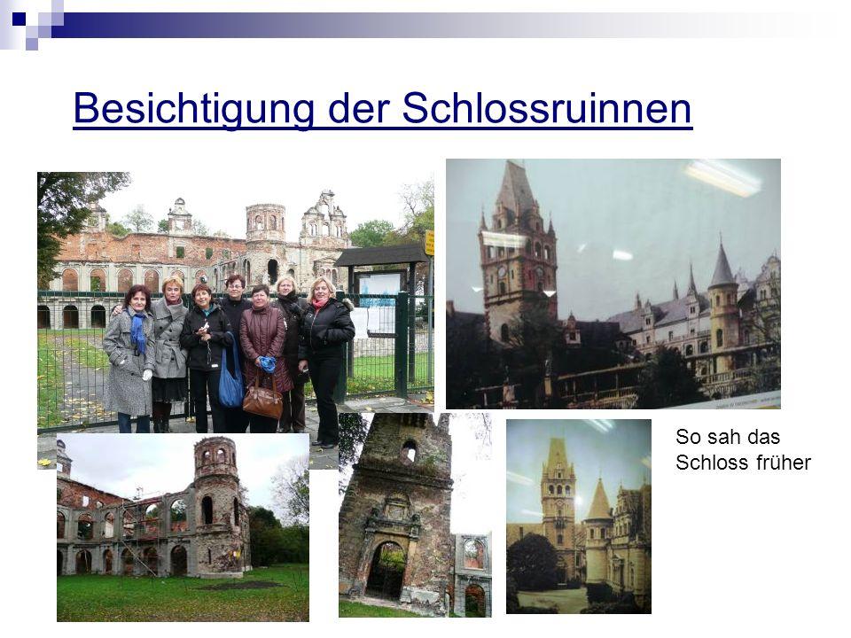 Besichtigung der Schlossruinnen So sah das Schloss früher