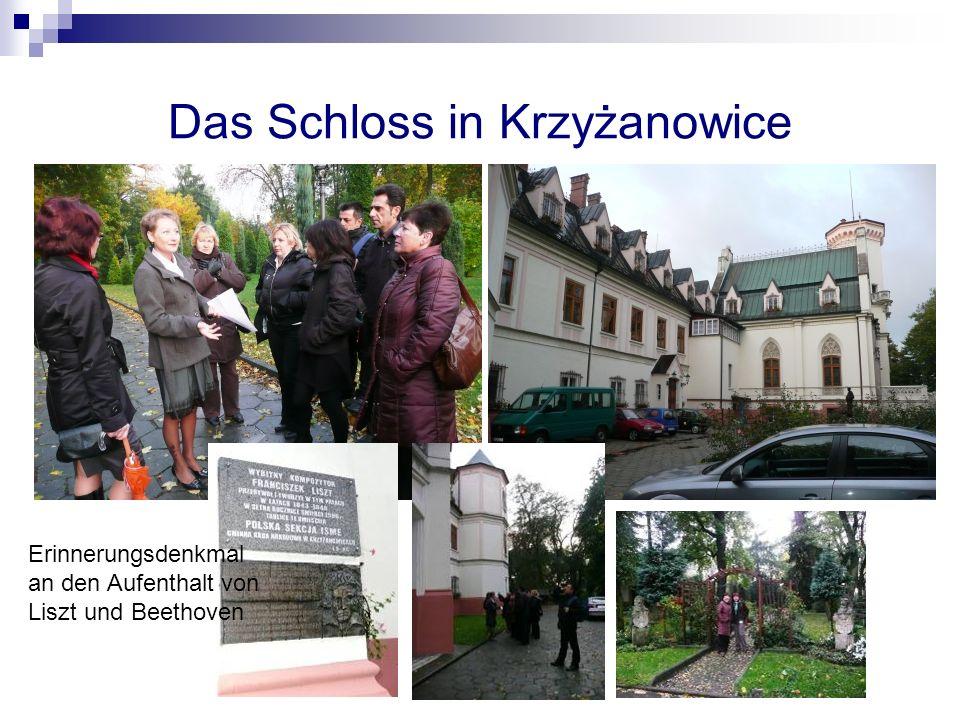 Das Schloss in Krzyżanowice Erinnerungsdenkmal an den Aufenthalt von Liszt und Beethoven