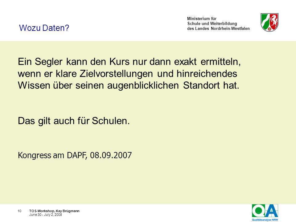 Ministerium für Schule und Weiterbildung des Landes Nordrhein-Westfalen TOS-Workshop, Kay Brügmann10 June 30 - July 2, 2008 Ein Segler kann den Kurs n