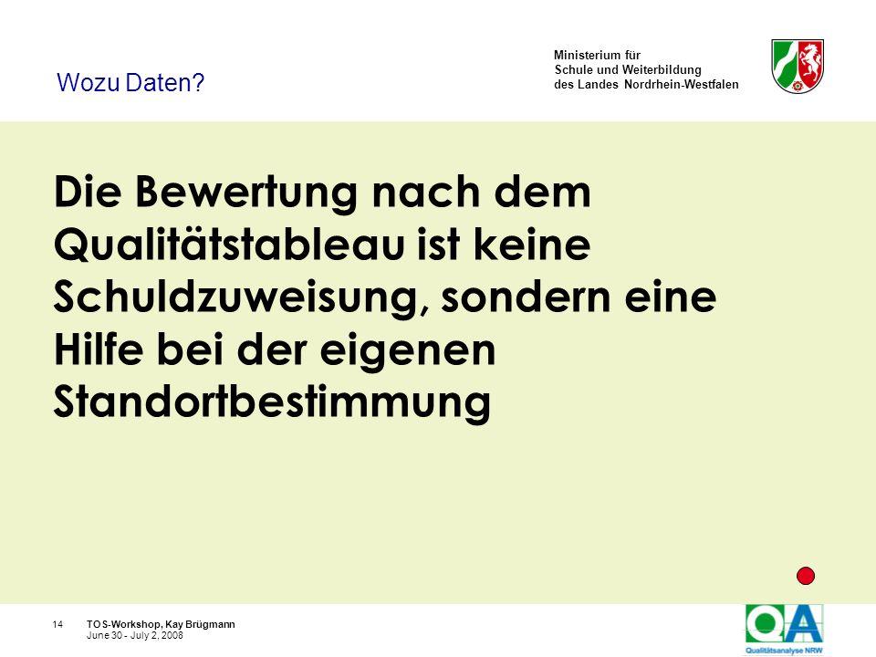 Ministerium für Schule und Weiterbildung des Landes Nordrhein-Westfalen TOS-Workshop, Kay Brügmann14 June 30 - July 2, 2008 Die Bewertung nach dem Qua