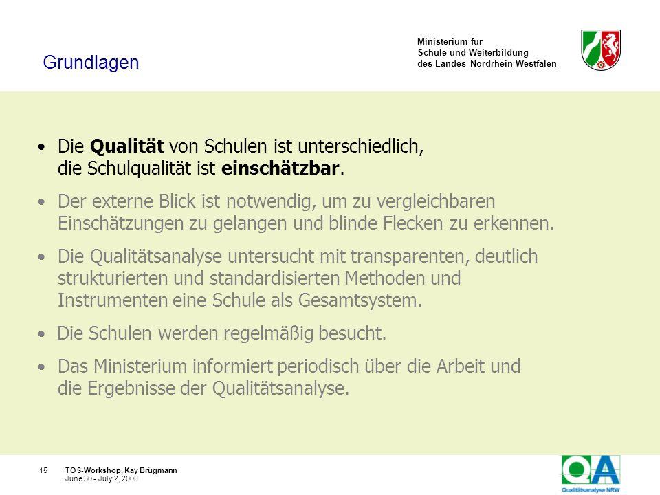 Ministerium für Schule und Weiterbildung des Landes Nordrhein-Westfalen TOS-Workshop, Kay Brügmann15 June 30 - July 2, 2008 Die Qualität von Schulen i