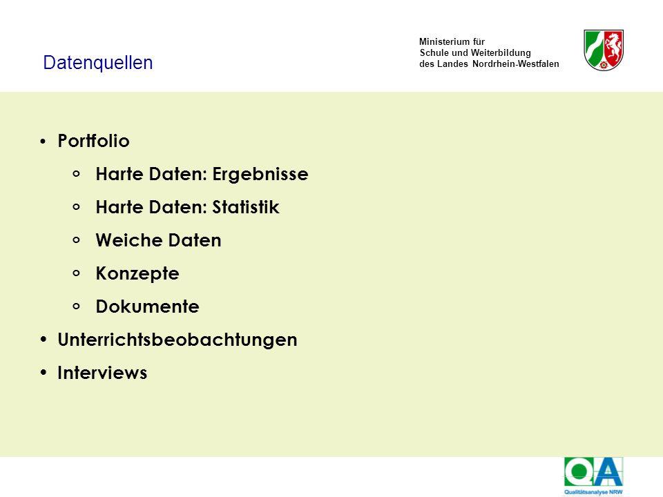 Ministerium für Schule und Weiterbildung des Landes Nordrhein-Westfalen Portfolio Harte Daten: Ergebnisse Harte Daten: Statistik Weiche Daten Konzepte