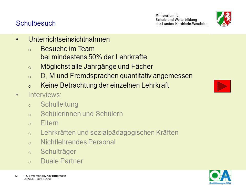 Ministerium für Schule und Weiterbildung des Landes Nordrhein-Westfalen TOS-Workshop, Kay Brügmann32 June 30 - July 2, 2008 Unterrichtseinsichtnahmen