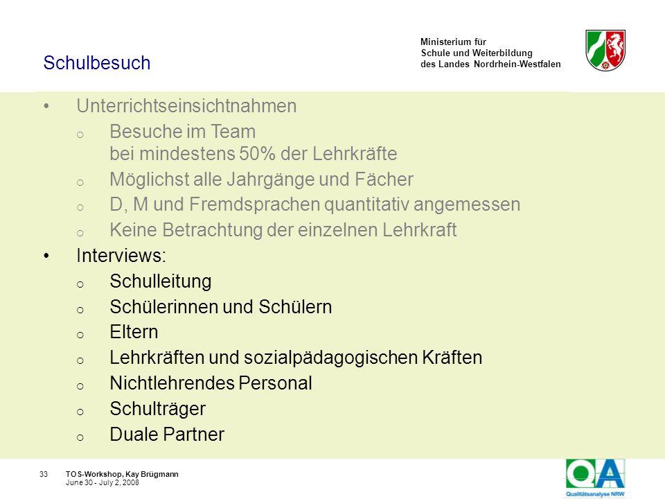 Ministerium für Schule und Weiterbildung des Landes Nordrhein-Westfalen TOS-Workshop, Kay Brügmann33 June 30 - July 2, 2008 Unterrichtseinsichtnahmen
