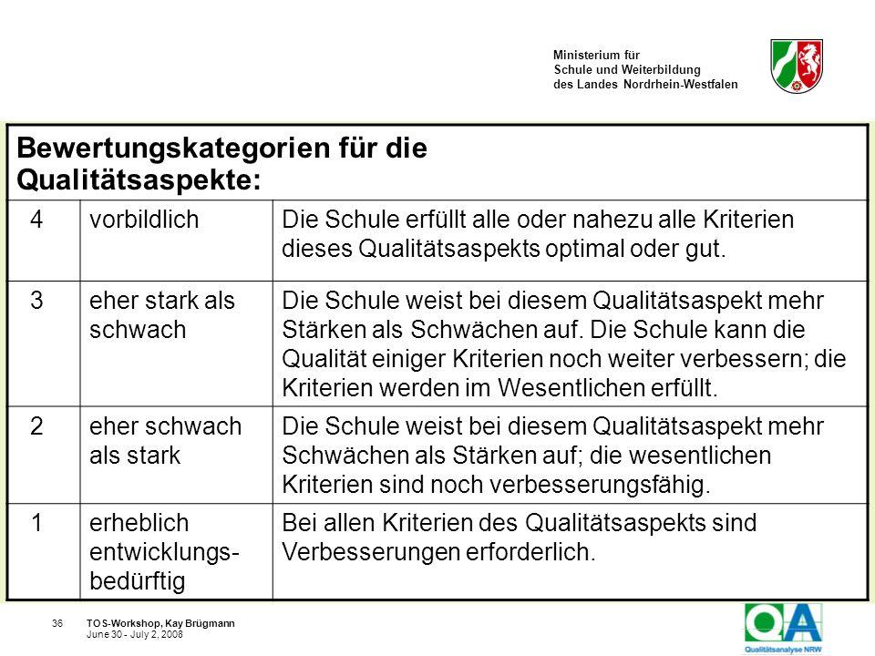 Ministerium für Schule und Weiterbildung des Landes Nordrhein-Westfalen TOS-Workshop, Kay Brügmann36 June 30 - July 2, 2008 Bewertungskategorien für d