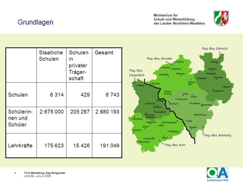 Ministerium für Schule und Weiterbildung des Landes Nordrhein-Westfalen TOS-Workshop, Kay Brügmann15 June 30 - July 2, 2008 Die Qualität von Schulen ist unterschiedlich, die Schulqualität ist einschätzbar.