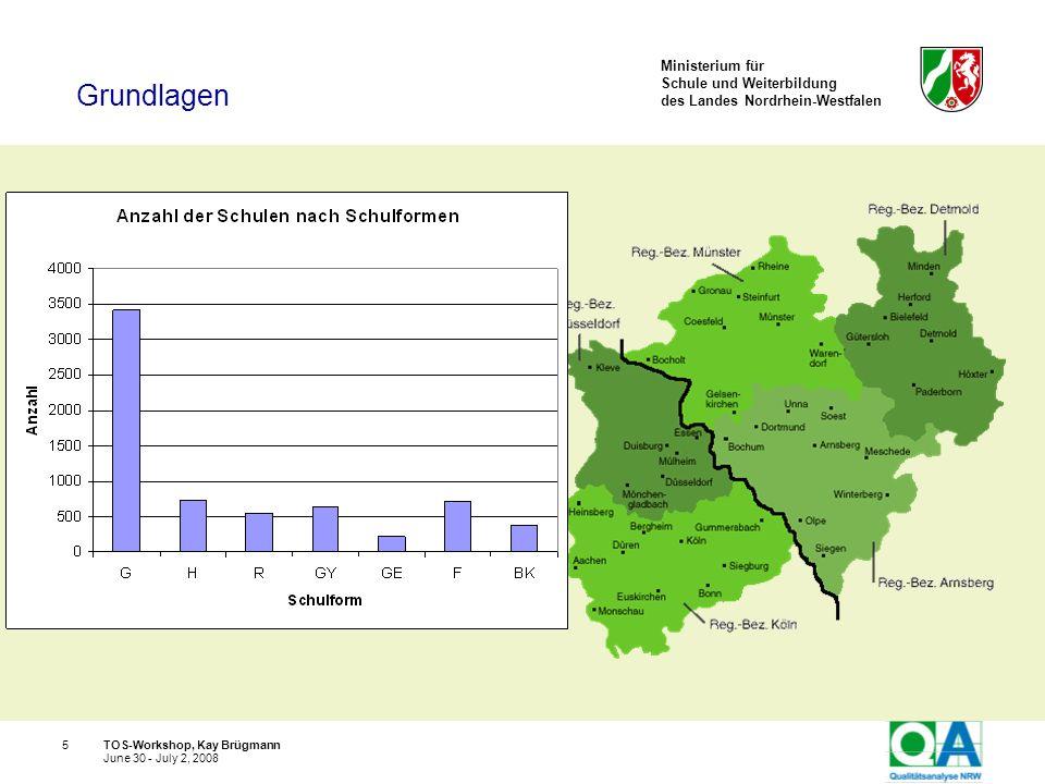 Ministerium für Schule und Weiterbildung des Landes Nordrhein-Westfalen TOS-Workshop, Kay Brügmann16 June 30 - July 2, 2008 Die Qualität von Schulen ist unterschiedlich, die Schulqualität ist einschätzbar.