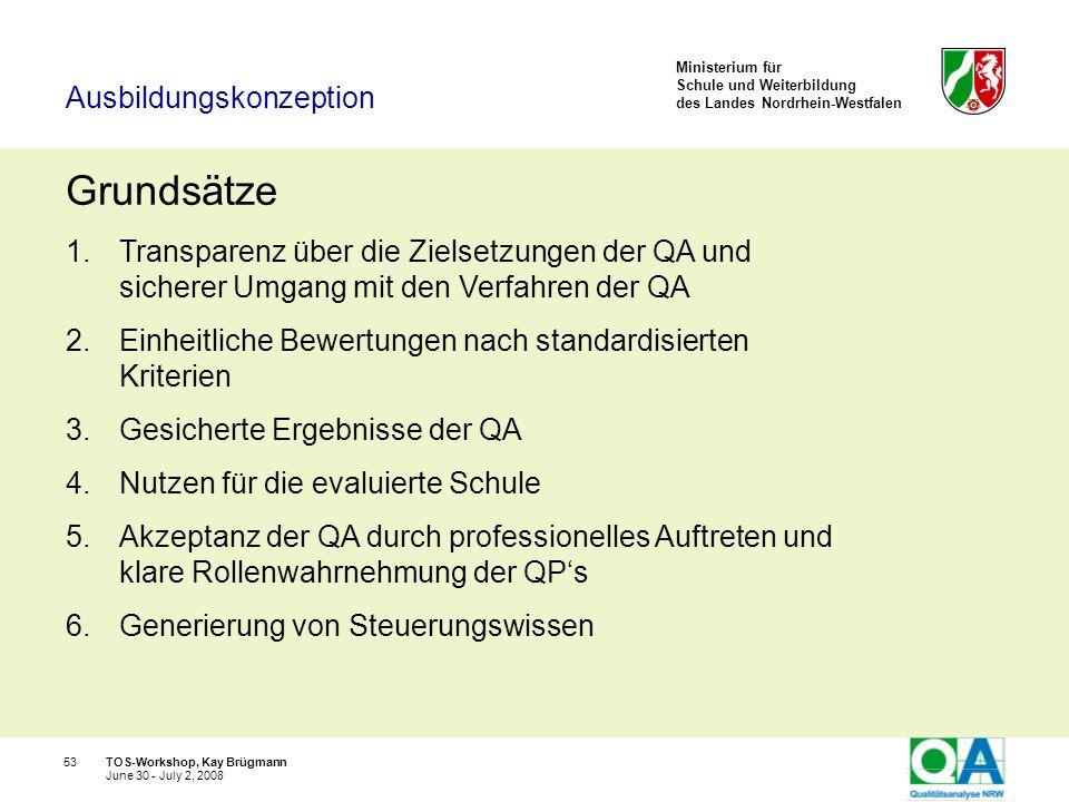 Ministerium für Schule und Weiterbildung des Landes Nordrhein-Westfalen TOS-Workshop, Kay Brügmann53 June 30 - July 2, 2008 Grundsätze 1.Transparenz ü