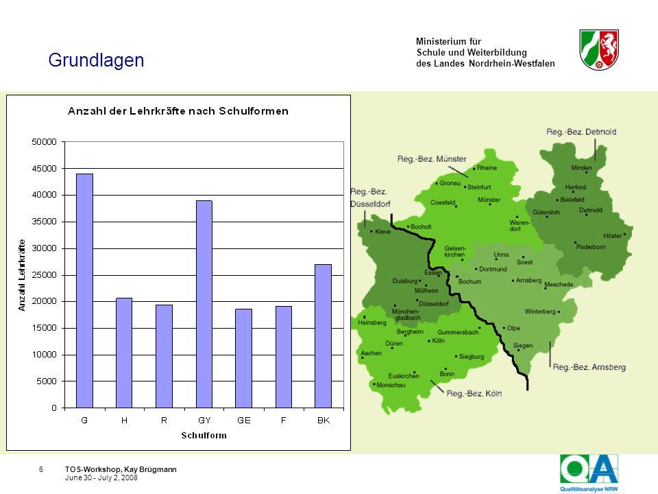 Ministerium für Schule und Weiterbildung des Landes Nordrhein-Westfalen TOS-Workshop, Kay Brügmann17 June 30 - July 2, 2008 Die Qualität von Schulen ist unterschiedlich, die Schulqualität ist einschätzbar.