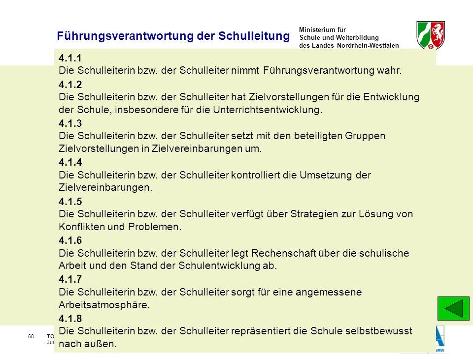 Ministerium für Schule und Weiterbildung des Landes Nordrhein-Westfalen TOS-Workshop, Kay Brügmann60 June 30 - July 2, 2008 4.1.1 Die Schulleiterin bz