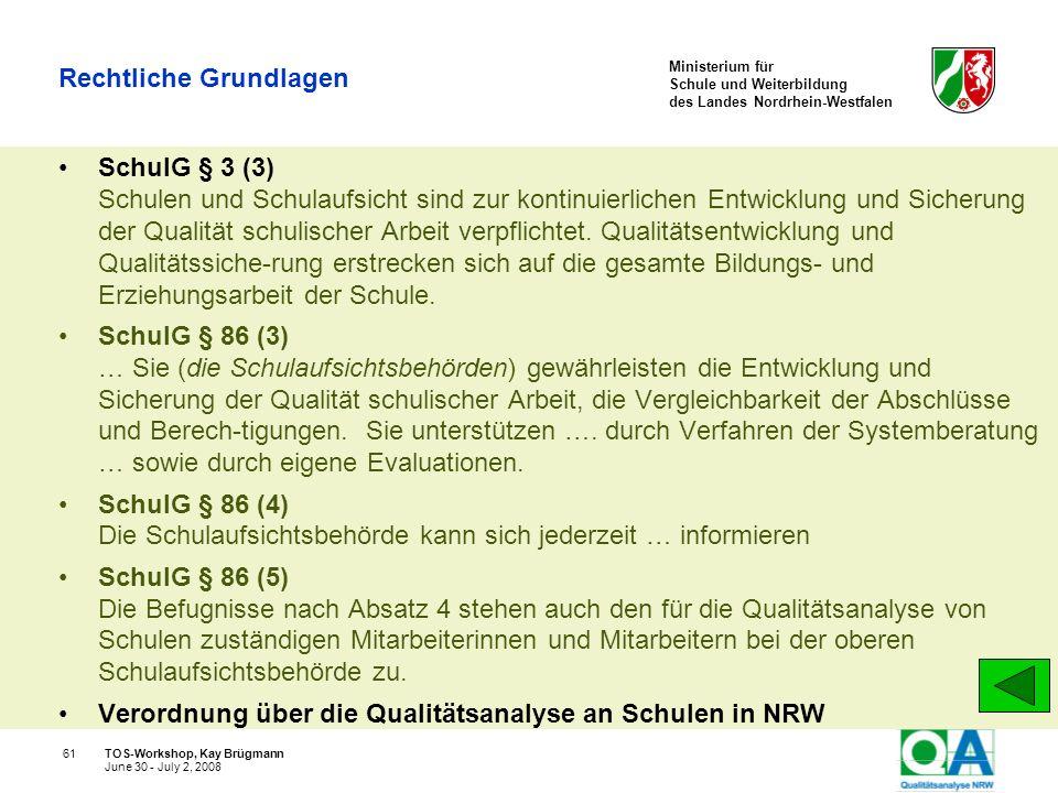 Ministerium für Schule und Weiterbildung des Landes Nordrhein-Westfalen TOS-Workshop, Kay Brügmann61 June 30 - July 2, 2008 Rechtliche Grundlagen Schu