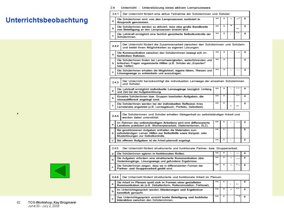 Ministerium für Schule und Weiterbildung des Landes Nordrhein-Westfalen TOS-Workshop, Kay Brügmann62 June 30 - July 2, 2008 Unterrichtsbeobachtung