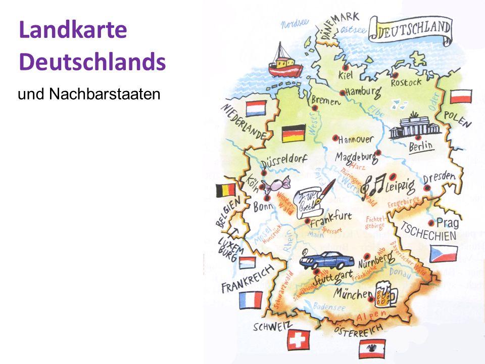 Landkarte Deutschlands und Nachbarstaaten