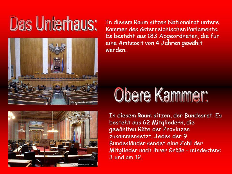In diesem Raum sitzen Nationalrat untere Kammer des österreichischen Parlaments.