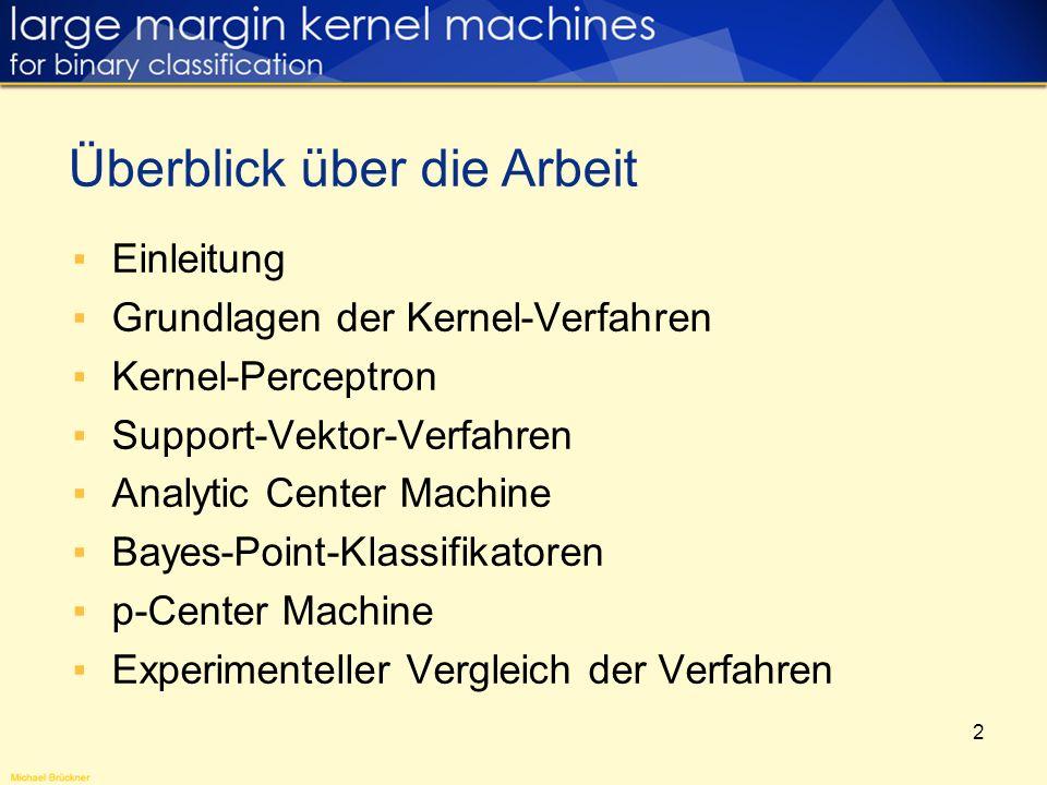 13 Kernel-Perceptron Kernelization des Perceptron-Algorithmus (2) Satt Addition/Subtraktion von x i wird (x i ) zu w addiert bzw.