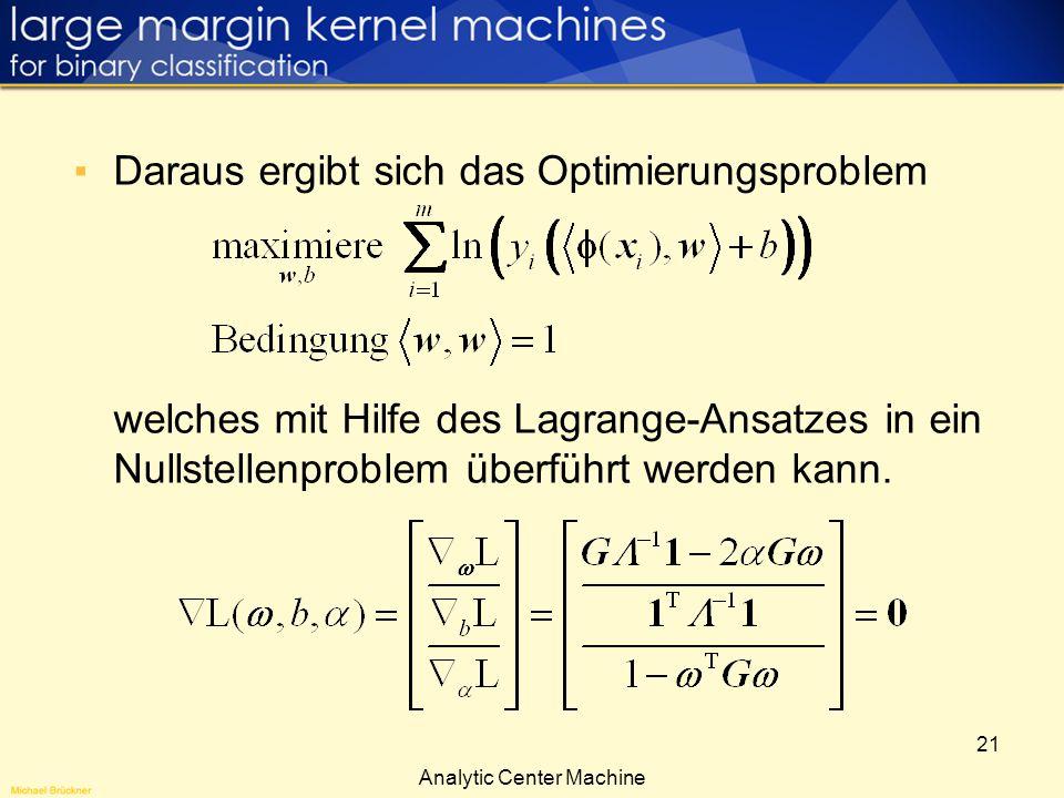21 Daraus ergibt sich das Optimierungsproblem welches mit Hilfe des Lagrange-Ansatzes in ein Nullstellenproblem überführt werden kann. Analytic Center