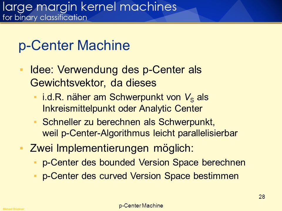 28 Idee: Verwendung des p-Center als Gewichtsvektor, da dieses i.d.R. näher am Schwerpunkt von V S als Inkreismittelpunkt oder Analytic Center Schnell