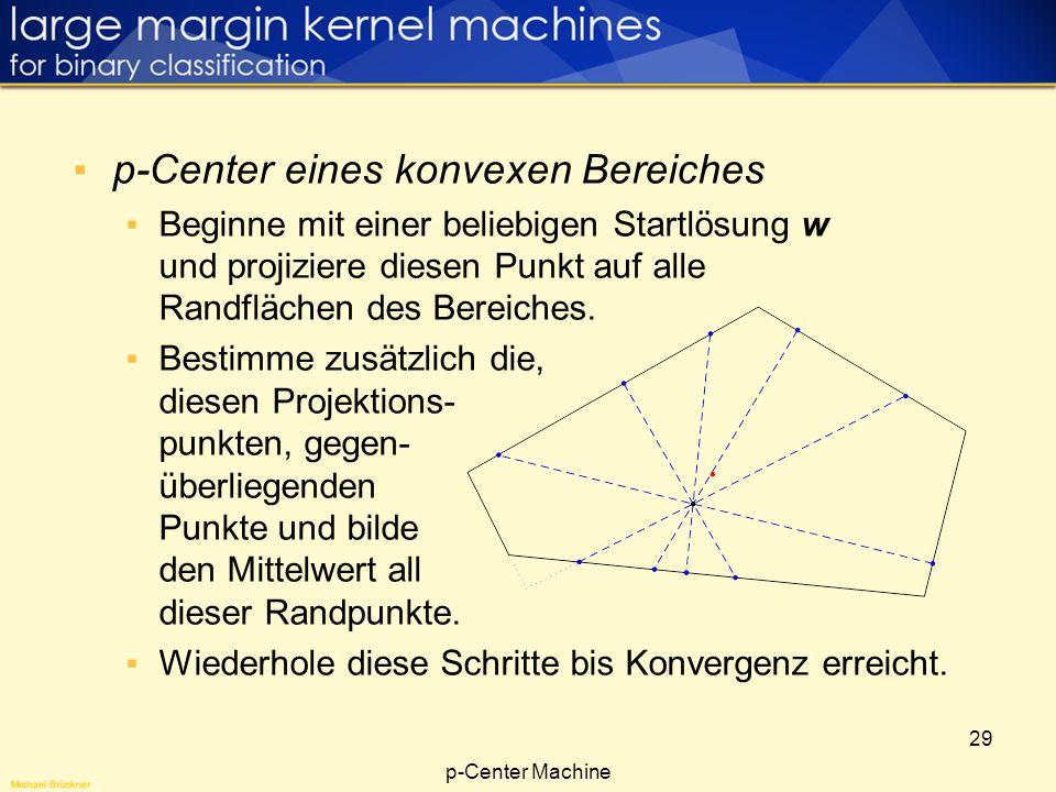 29 p-Center eines konvexen Bereiches Beginne mit einer beliebigen Startlösung w und projiziere diesen Punkt auf alle Randflächen des Bereiches. Bestim