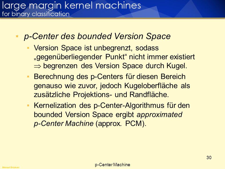 30 p-Center des bounded Version Space Version Space ist unbegrenzt, sodass gegenüberliegender Punkt nicht immer existiert begrenzen des Version Space