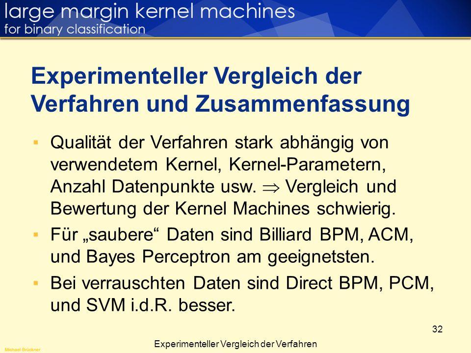 32 Qualität der Verfahren stark abhängig von verwendetem Kernel, Kernel-Parametern, Anzahl Datenpunkte usw. Vergleich und Bewertung der Kernel Machine