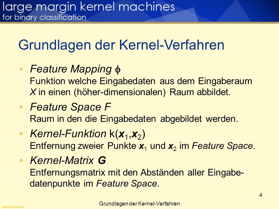 4 Feature Mapping Funktion welche Eingabedaten aus dem Eingaberaum X in einen (höher-dimensionalen) Raum abbildet. Feature Space F Raum in den die Ein