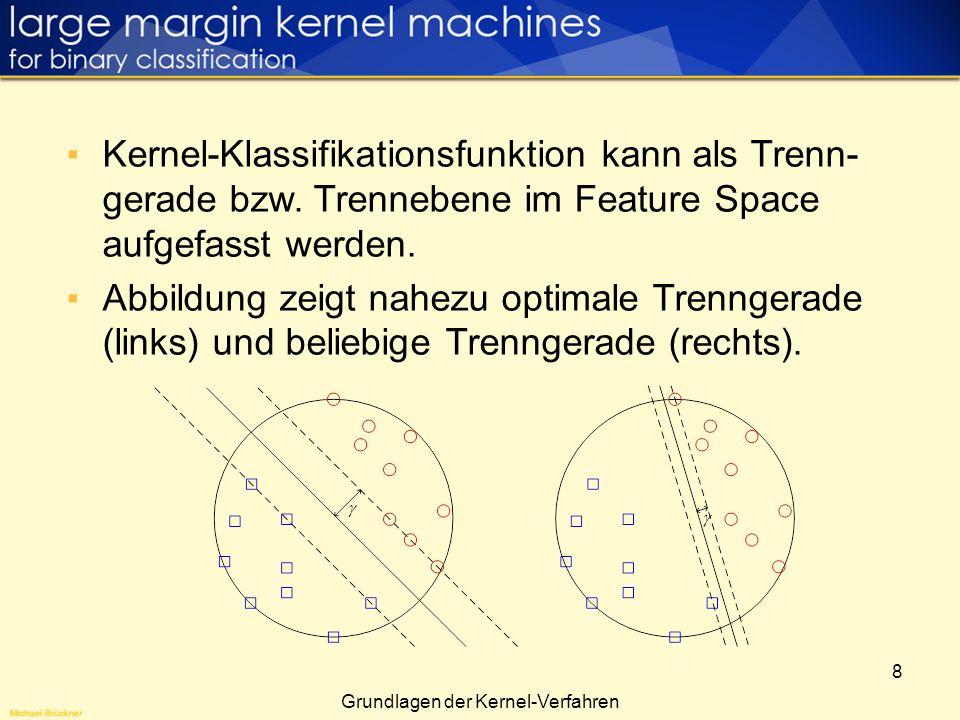 8 Kernel-Klassifikationsfunktion kann als Trenn- gerade bzw. Trennebene im Feature Space aufgefasst werden. Abbildung zeigt nahezu optimale Trenngerad