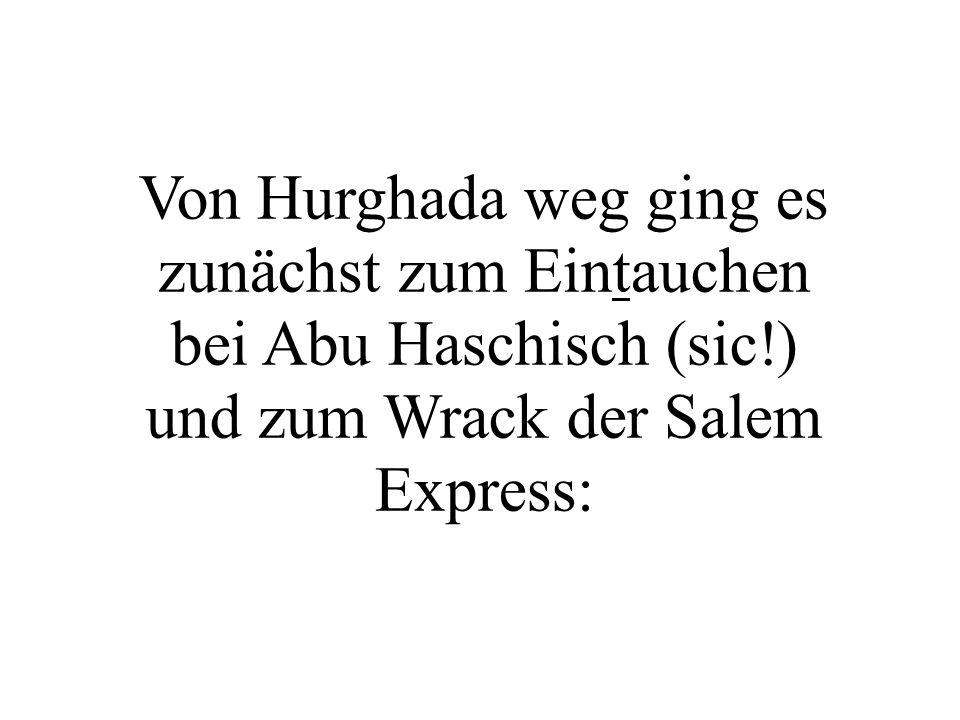 Von Hurghada weg ging es zunächst zum Eintauchen bei Abu Haschisch (sic!) und zum Wrack der Salem Express: