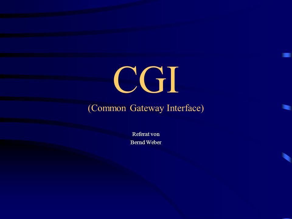CGI (Common Gateway Interface) Referat von Bernd Weber