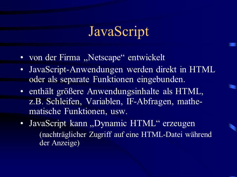 CGI CGI = Common Gateway Interface (Allgemeine Vermittlungsrechner-Schnittstelle) im Web bereitgestellte Programme wirken über CGI (von HTML-Dateien aus aufgerufen) CGI nutzende Programme erzeugen HTML-Code, dieser wird vom HTML an den WWW-Browser zur Darstellung übergeben.