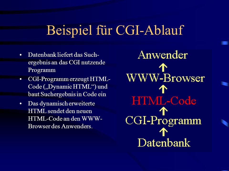 Beispiel für CGI-Ablauf dynamisch erzeugter HTML-Code