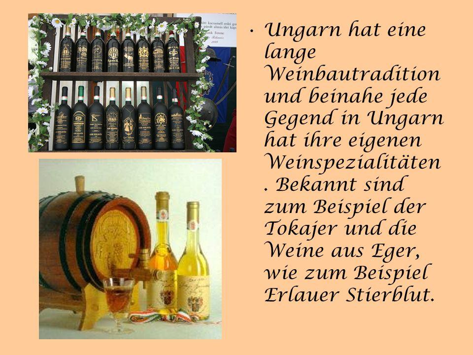 Ungarn hat eine lange Weinbautradition und beinahe jede Gegend in Ungarn hat ihre eigenen Weinspezialitäten.