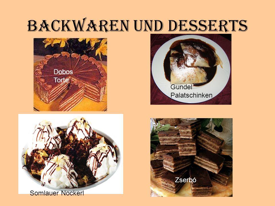 Backwaren und Desserts Dobos Torte Gundel Palatschinken Somlauer Nockerl Zserbó