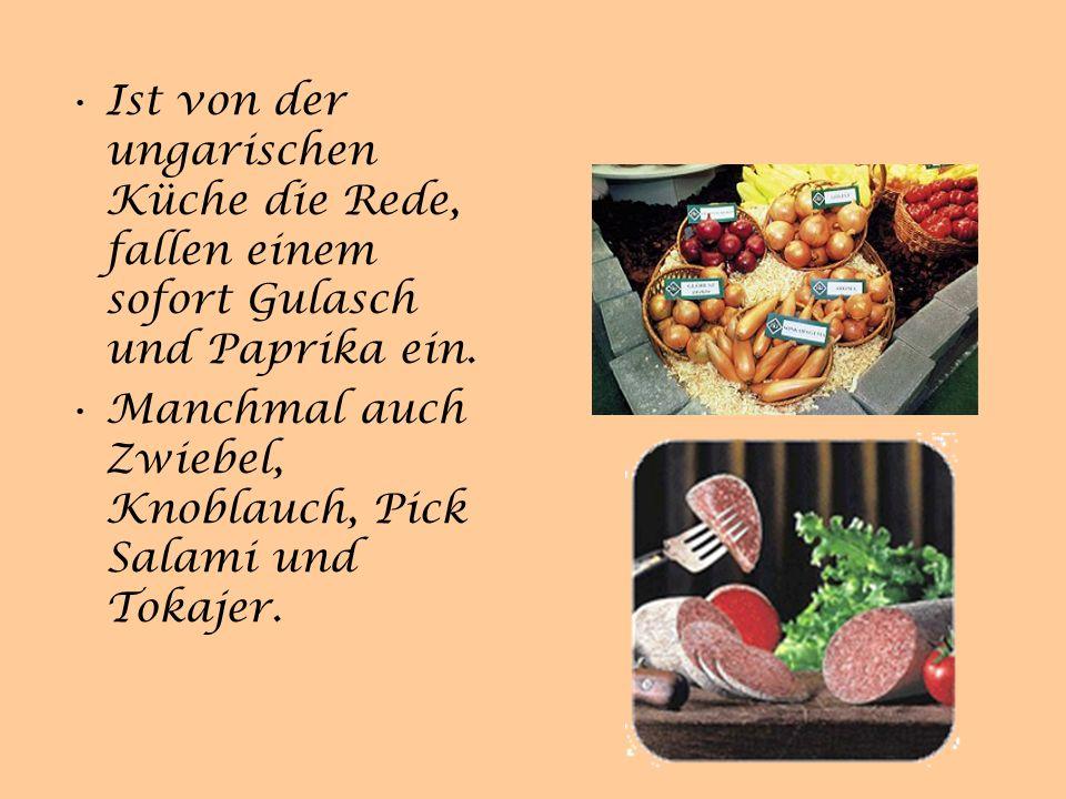 Die Küche Ungarns ist geprägt von der französischen Küche, die die Österreicher ins Land brachten und der türkischen Küche, die die Osmanen während ihrer 150 jährigen Herrschaft nach Ungarn brachten..
