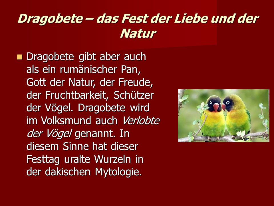 Dragobete – das Fest der Liebe und der Natur Dragobete gibt aber auch als ein rumänischer Pan, Gott der Natur, der Freude, der Fruchtbarkeit, Schützer