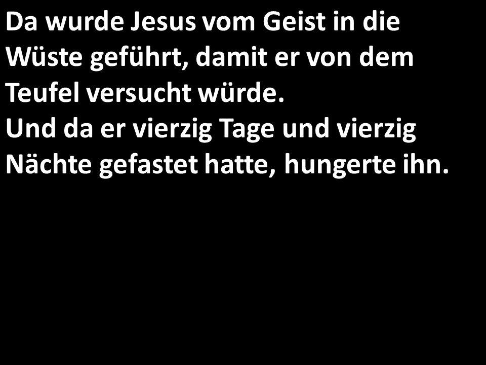 Da wurde Jesus vom Geist in die Wüste geführt, damit er von dem Teufel versucht würde. Und da er vierzig Tage und vierzig Nächte gefastet hatte, hunge