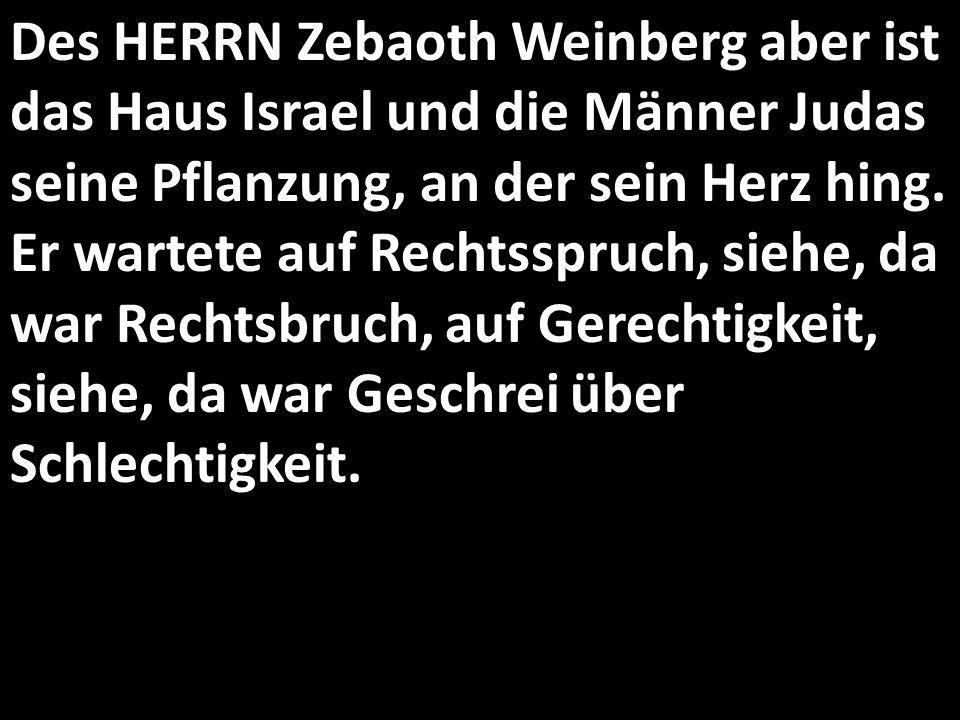 Des HERRN Zebaoth Weinberg aber ist das Haus Israel und die Männer Judas seine Pflanzung, an der sein Herz hing. Er wartete auf Rechtsspruch, siehe, d