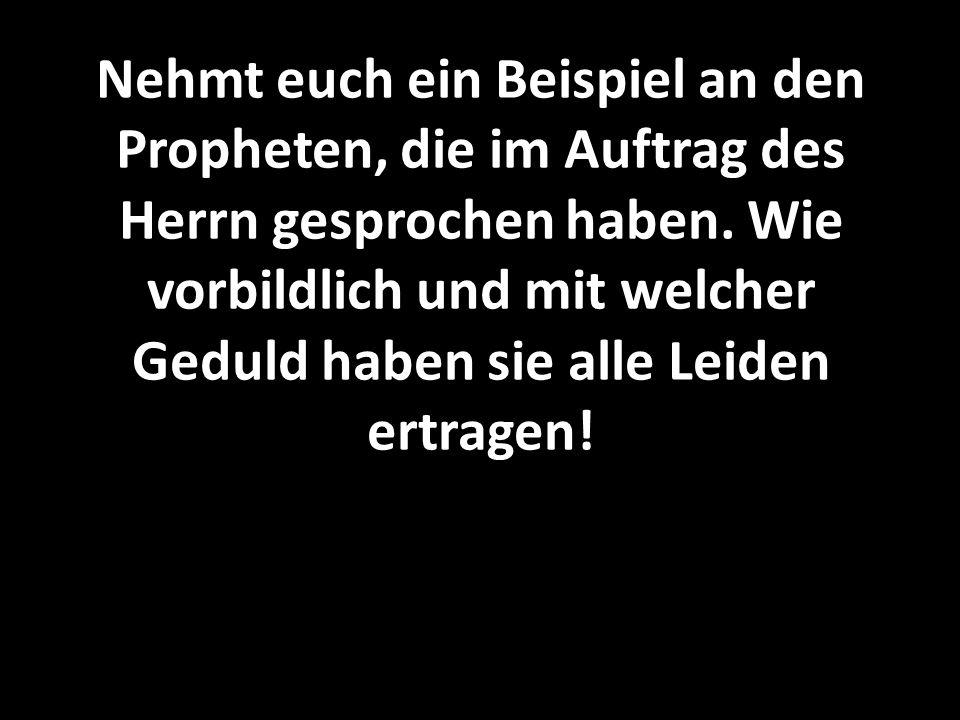 Nehmt euch ein Beispiel an den Propheten, die im Auftrag des Herrn gesprochen haben. Wie vorbildlich und mit welcher Geduld haben sie alle Leiden ertr
